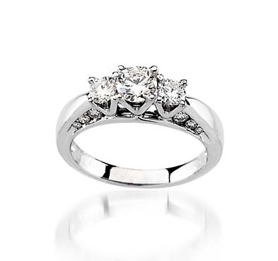 3 Stone Diamond Accented Ring 1.1 Carat Total Weight