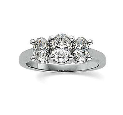 Three Stone Oval Cut Diamond Ring 1.0 Carat Total Weight