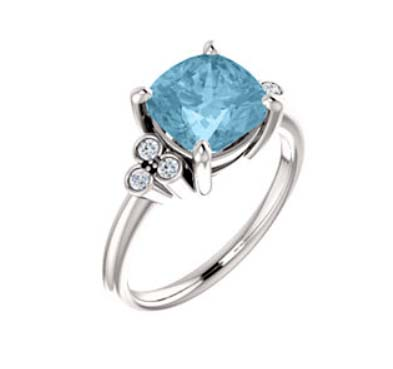 Cushion Cut Aquamarine Diamond Accented Ring .90 Carat Total Weight