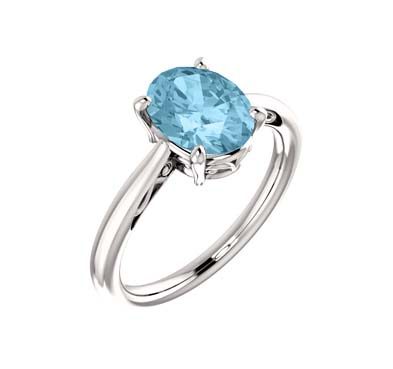 Aquamarine Oval Cut Ring 1.5 Carat Total Weight