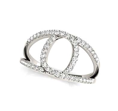 Eye Shaped Diamond Ring 1/2 Carat Total Weight