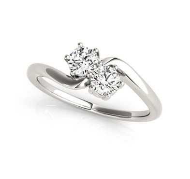 Stylish 2 Stone Diamond Ring 1/4 Carat Total Weight