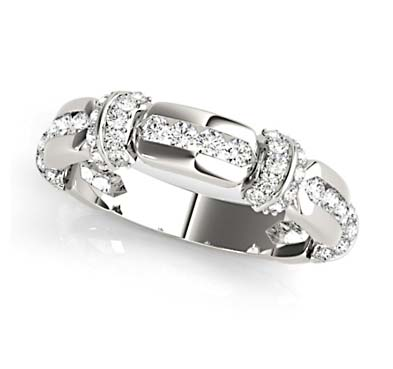 Stackable Channel Sets Diamond Ring 1/4 Carat Total Weight