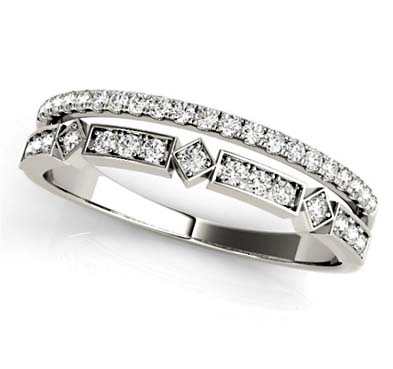 9c6c8618c5196 Double Row Stackable Diamond Ring [85018]   USA Jewels
