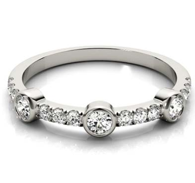 3 Stone Bezel Diamond Stackable Ring 3/8 Carat Total Weight