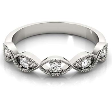 Swirling Diamond Stackable Ring .15 Carat Total Weight