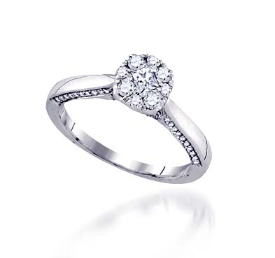 Diamond Floral Solitaire Ring 1/2 Carat Total Weight