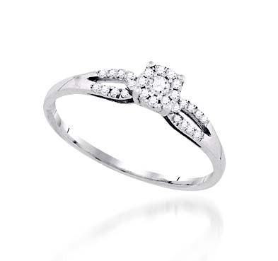 Mini Halo Style Fashion Ring 0.14 Carat Total Weight