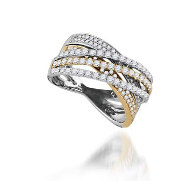 Ladies Two Tone Diamond Band 1.33 Carat Total Weight