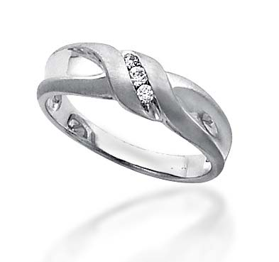 Men's 3 Stone Diamond RIng Ring 1/10 Carat Total Weight