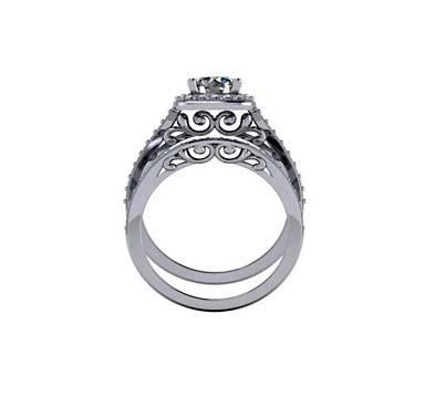 Classic Halo Style Diamond Engagement Set Ring 1.55 Carat Total Weight