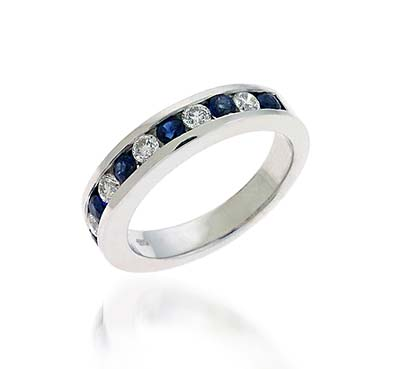 Blue Sapphire & Diamond Band 1.59 Carat Total Weight