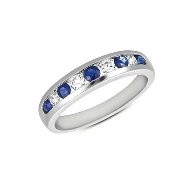 Sapphire and Diamond Band 3/4 Carat Total Weight