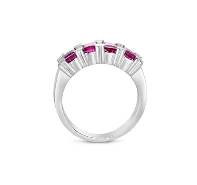 Genuine Ruby & Diamond Ring 0.83 Carat Total Weight