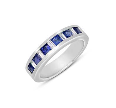 Genuine Sapphire and Diamond Ring 1.0 Carat Total Weight