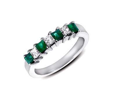 Genuine Emerald and Diamond Band 1.1 Carat Total Weight