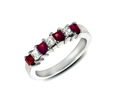 Genuine Ruby and Diamond Band 1.25 Carat Total Weight
