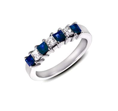 Genuine Sapphire & Diamond Band 1.14 Carat Total Weight