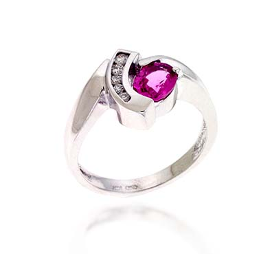 Pink Sapphire & Diamond Ring 1.18 Carat Total Weight