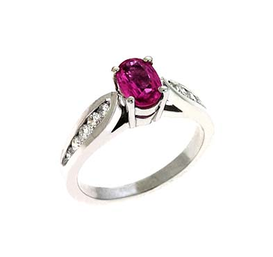Genuine Pink Sapphire & Diamond Ring 1.4 Carat Total Weight