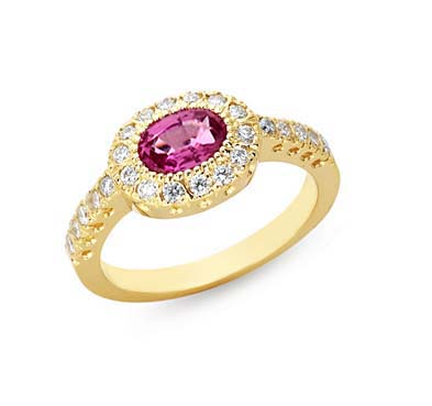 Genuine Pink Sapphire & Diamond Ring 1.5 Carat Total Weight