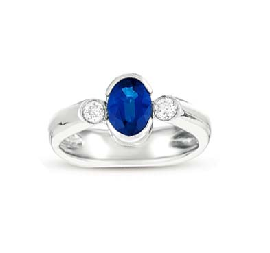 Sapphire & Diamond Ring 1.15 Carat Total Weight