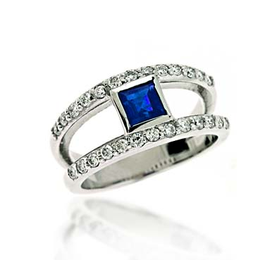 Genuine Sapphire & Diamond Ring 1.25 Carat Total Weight