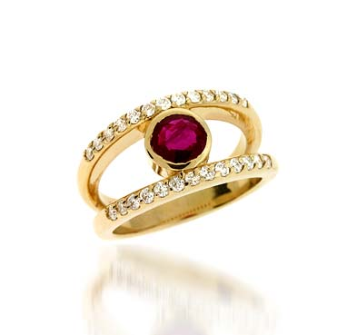 Genuine Ruby & Diamond Ring 1.18 Carat Total Weight