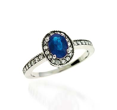 Sapphire & Diamond Ring 1.29 Carat Total Weight