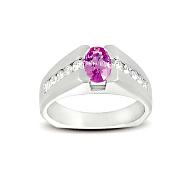 Pink Sapphire and Diamond Ring 1.54 Carat Total Weight