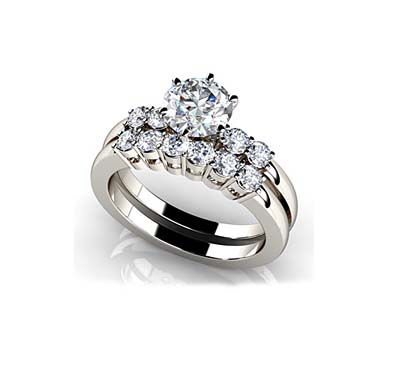 Five Across 6 Prong Engagement Ring 3/4 Carat Total Weight