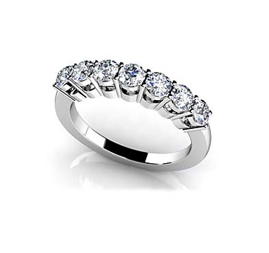 Classic 7 Stone Wedding/Anniversary Bang Ring 1/2 Carat Total Weight