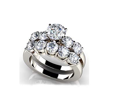 Four Prong Five Across Bridal Set Ring 2.39 Carat Total Weight