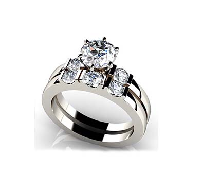 Deco Bridal Set Ring 0.85 Carat Total Weight