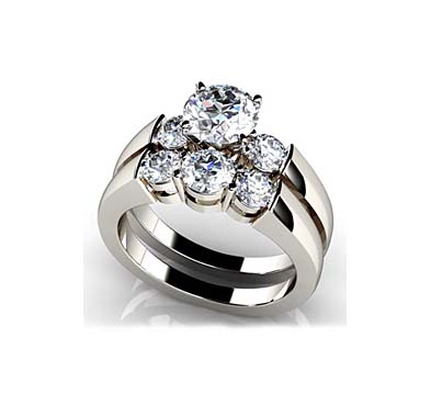 Triple Diamond Bridal Set Ring 1.38 Carat Total Weight