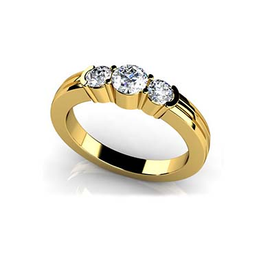 3 Stone Contemporary Band 1/2 Carat Total Weight