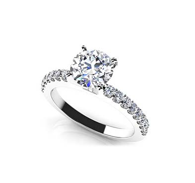 Prong Set Side Diamond Engagement Ring 0.69 Carat Total Weight