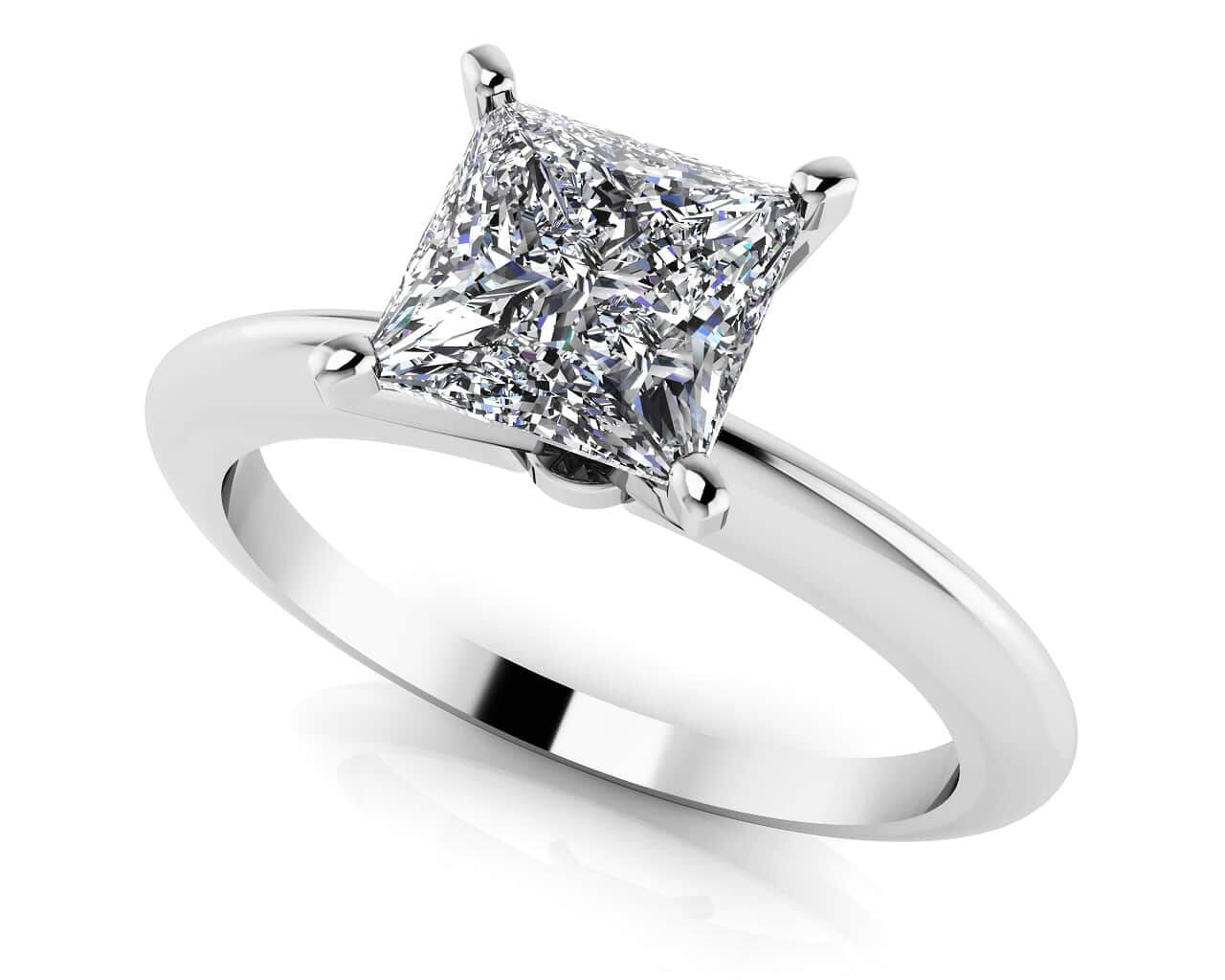 Perfect Princess Cut Diamond Solitaire Engagement Ring 1/2 Carat Total Weight