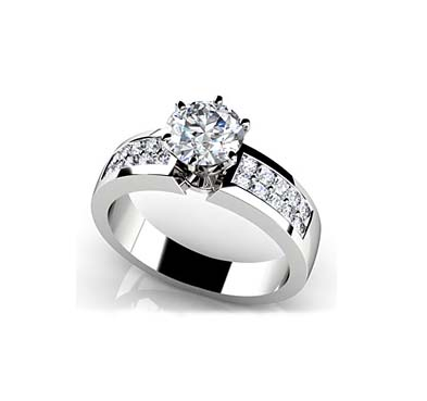 Channel Set 6 Prong Center Stone Engagement Ring 0.94 Carat Total Weight