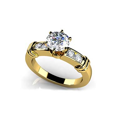 Channel Diamond Flanked Engagement Ring 0.66 Carat Total Weight