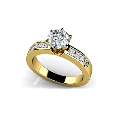 Triple Contrast Engagement Ring 1.0 Carat Total Weight