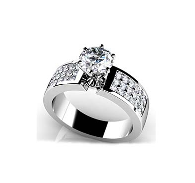 Triple Channel 6 Prong Engagement Ring [MS127A] | USA Jewels