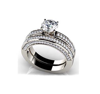 Vintage Look Bridal Set Ring 1.68 Carat Total Weight