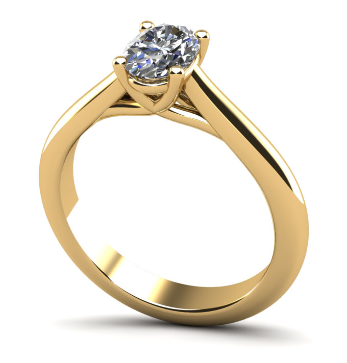 Elegant Oval Solitaire Engagement Ring 5/8 Carat Total Weight