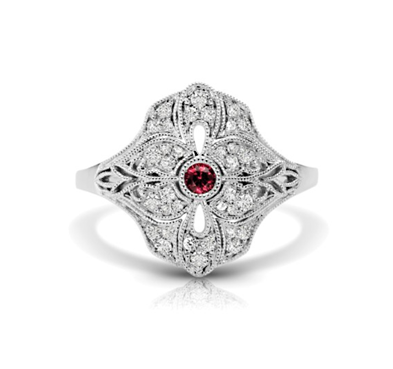 Vintage Ruby & Diamond Flower Ring 1/4 Carat Total Weight