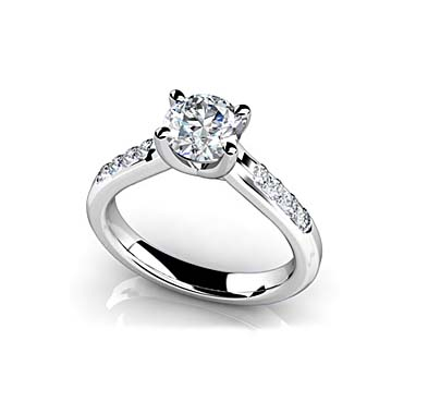 Engagement Ring with Side Diamonds 0.95 Carat Total Weight