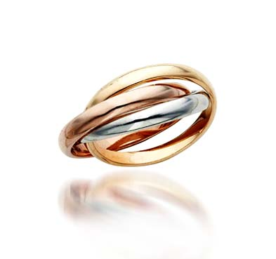 Tri Color Gold Wedding/Anniversary Ring