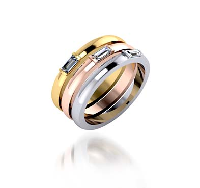 Stackable Tri Color Wedding Anniversary Ring With Baguettes 084 Carat Total Weight