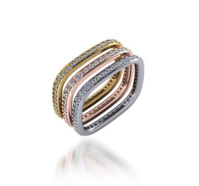 Stackable Tri Color Diamond Wedding/Anniversary Ring 1.38 Carat Total Weight