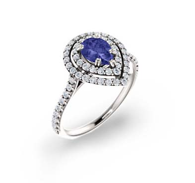 Double Halo Pear Shape Tanzanite Diamond Ring 1.35 Carat Total Weight